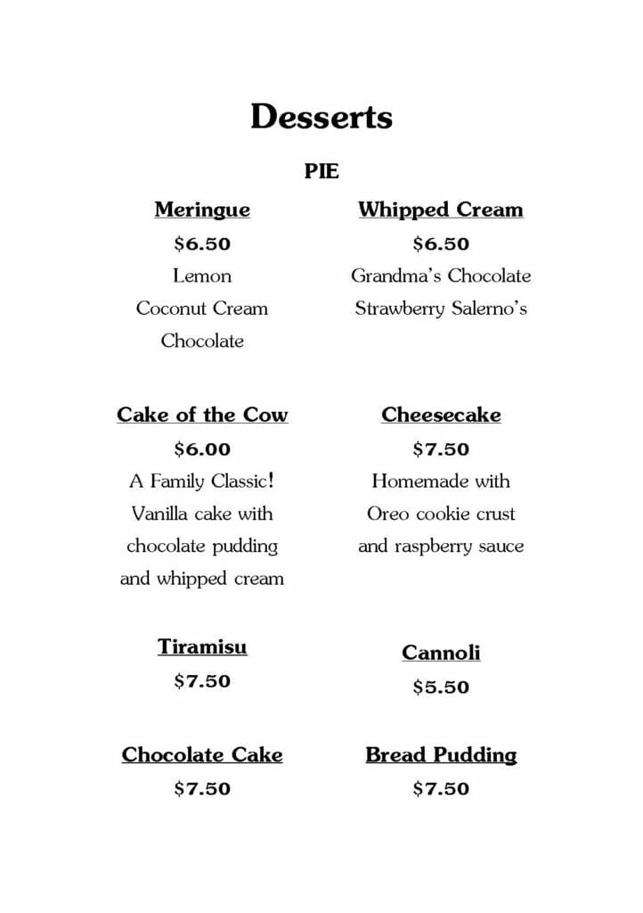 Salerno's Dessert Menu